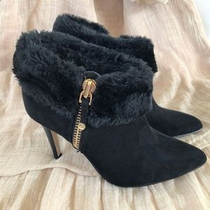 Marc Fisher Booties Black Suede Side Zip Heels Fur